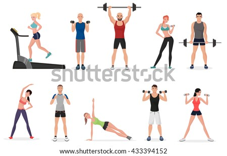 Sport gym people set with dumbbells, barbells and fitness tools. Man and women fitness - stock vector