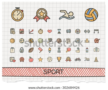 Sport hand drawing line icons. Vector doodle pictogram set: color pen sketch sign illustration on paper with hatch symbols: baseball, football, tennis, bicycle, pool, soccer, rugby, fitness.  - stock vector