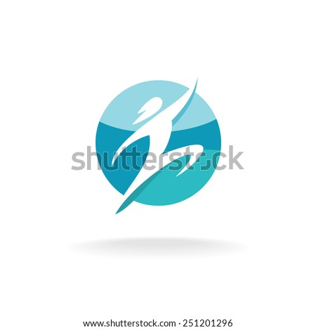 Sport human run and jump logo template. Man silhouette on a round background. - stock vector