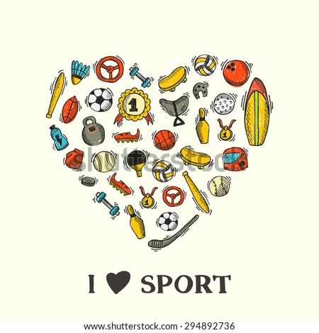 Sport icon card. Hand drawn vector illustration. Tennis, skating, fitness, boxing, bowling, baseball, hockey, golf, football, basketball, volleyball, soccer, ping pong, surfing, rugby and other sport. - stock vector