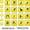 Sport Icon on Yellow Sign Button Collection Original Illustration - stock vector