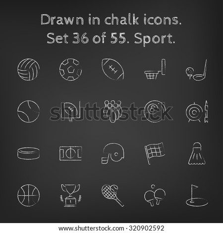 Sport icon set hand drawn in chalk on a blackboard vector white icons on a black background. - stock vector