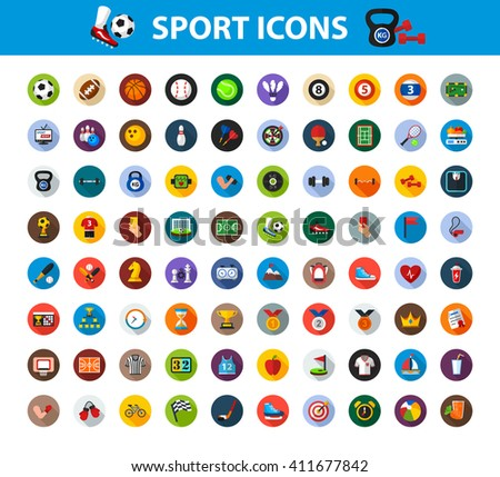 Sport icon set with long shadow effect for Web, Presentations and Mobile Application. Isolated on white background. Vector illustration. - stock vector