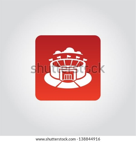 Sport icon, Stadium sign, green grass and blue cloud on top of sport building, vector illustration - stock vector