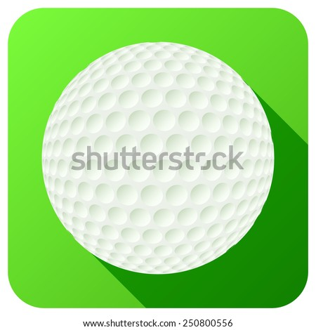 Sport icon with golf ball in flat style. Vector illustration isolated on white background. - stock vector