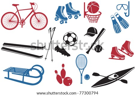 Sport Icons Collection, representing various sports and activities - stock vector