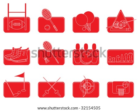 sport icons red,the shadow and the icons are set on different layer - stock vector