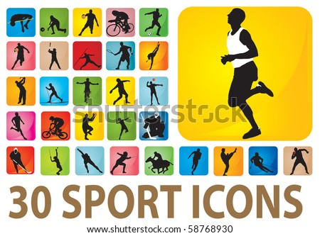 Sport icons. Vector set - stock vector