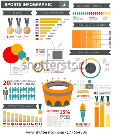 Infographic Ideas easy infographic template : Sport Infographic Elements Sample Numbers Flags Stock Vector ...