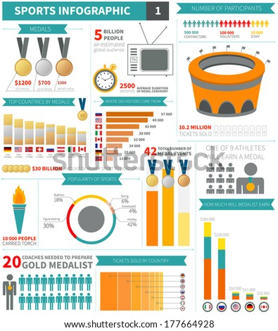 Sport infographic elements sample numbers flags stock for Sports infographics templates