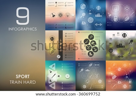 sport infographic with unfocused background - stock vector