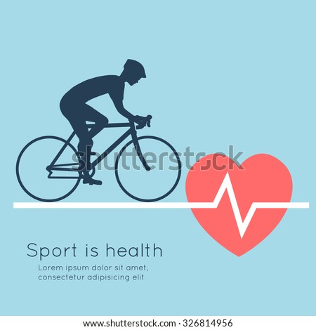 Sport is health. Cycling, heartbeat. Abstract vector illustration. - stock vector