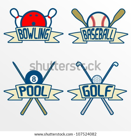 Sport item banners, Part 2. Bowling, baseball, pool, golf