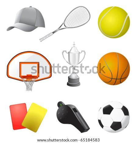 sport items vector - stock vector