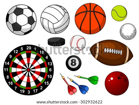 Sport items with football, soccer, rugby, basketball, volleyball, tennis, golf, baseball, billiards, bowling, hockey puck and dartboard isolated on white background - stock vector