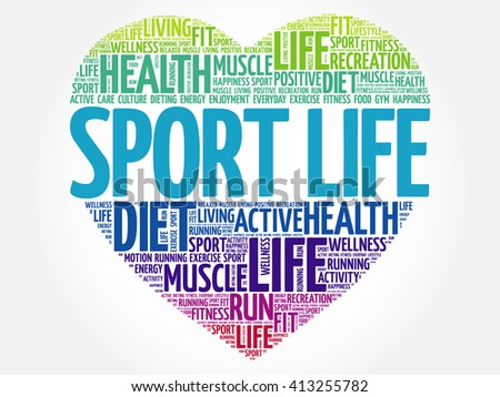 Sport Life heart word cloud, fitness, sport, health concept - stock vector