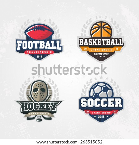 Sport logo set for four sport disciplines - stock vector