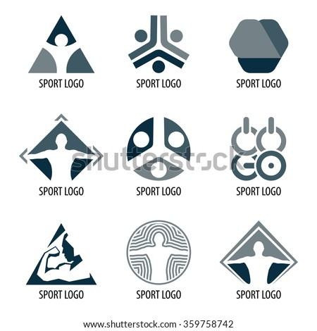 Sport logos. Vector sport logos. Sport logotype. Abstract logo. Logo sports organization. Icons for competition.New logo. Sport logos. Sport logo. Circle logo. Sports logo. Line logo. Super logo. Logo - stock vector