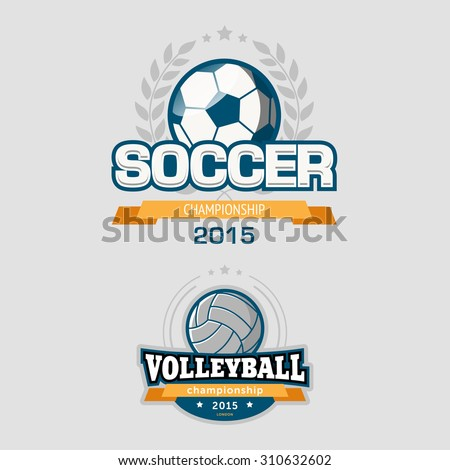 Sport logotypes including soccer and volleyball championships - stock vector