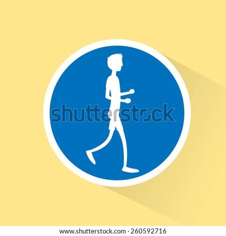 sport man run with fitness, runner jogging training flat design icon vector illustration - stock vector