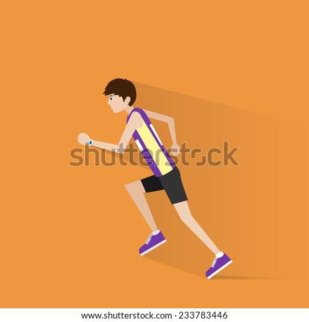 sport man run with fitness tracker on wrist, runner jogging training flat design icon - stock vector