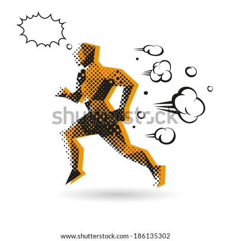 Sport man running abstract isolated on a white background - stock vector