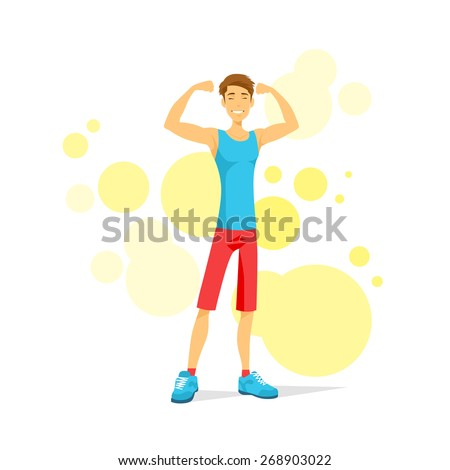Sport Man Show Bicep Muscles Fitness Trainer, Athletic Bodybuilder Over Colorful Background, Vector Illustration - stock vector