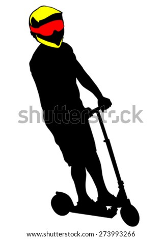 Sport man whit scooter on white background - stock vector