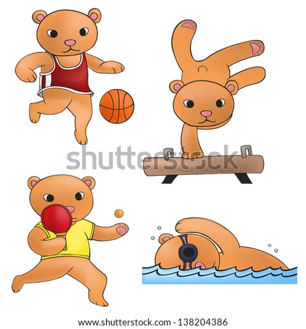 Sport mascot bear playing basketball gymnastic ping pong and swimming competition icon collection set 2, create by cartoon vector