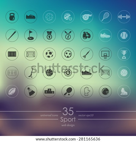 sport modern icons for mobile interface on blurred background - stock vector