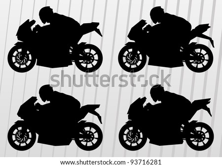 Sport motorbike riders and motorcycles silhouettes illustration collection background vector