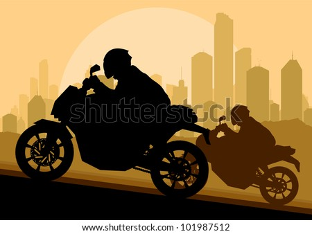 Sport motorbike riders motorcycle silhouettes in skyscraper city landscape background illustration vector - stock vector
