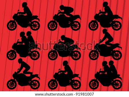 Sport motorbikes silhouettes illustration collection background vector