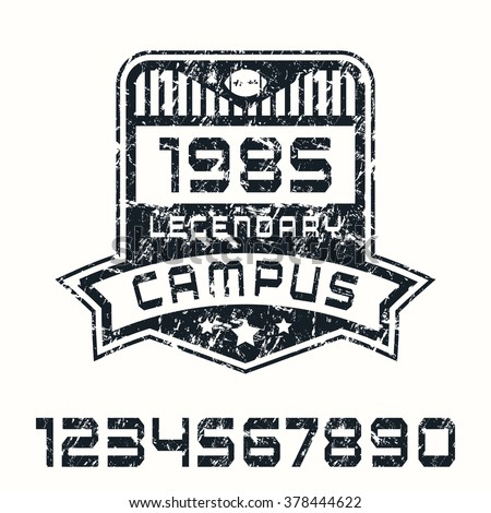 Sport numbers and campus emblem with texture. Graphic design for t-shirt. Black print on white background - stock vector
