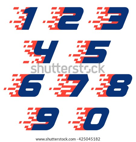 Sport numbers set with abstract checkered flag.