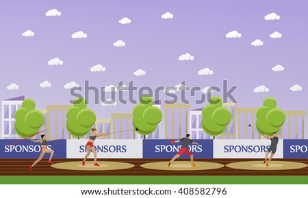 Sport of athletics concept vector illustration. Track and field competition games. Sportsman running, jumping and throwing. Sport venue (stadium) interior. - stock vector