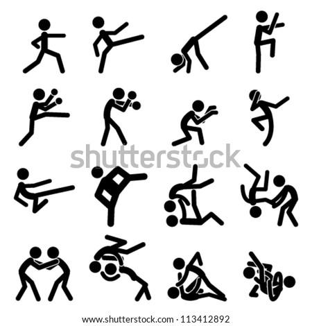 Sport Pictogram Icon Set 03 Martial Arts - stock vector