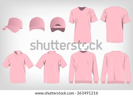 Sport pink t-shirt, sweater, polo shirt and baseball cap isolated set vector - stock vector