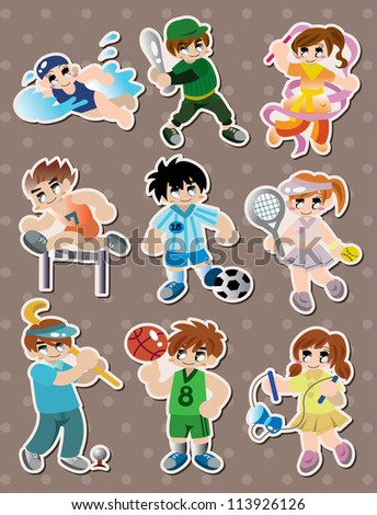 sport player stickers - stock vector