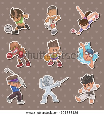 sport players stickers - stock vector