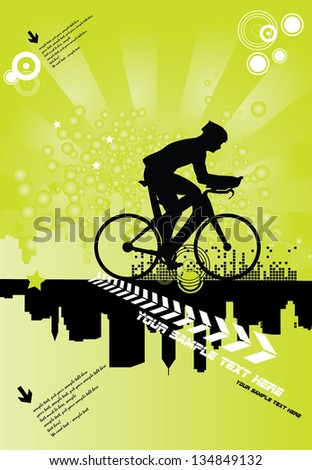 Sport road bike rider bicycle. Vector - stock vector