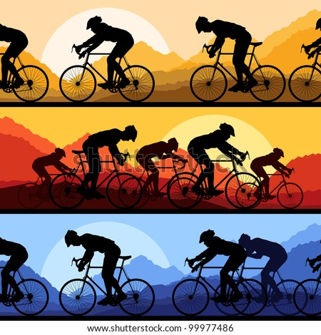 Sport road bike riders and bicycles detailed silhouettes collection in wild mountain nature landscape background illustration vector - stock vector