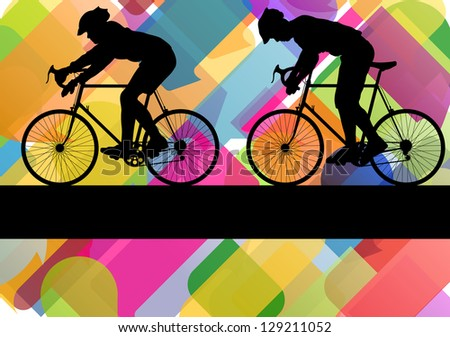 Sport road bike riders bicycle silhouettes in colorful abstract background vector illustration - stock vector