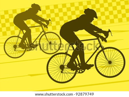 Sport road bike riders bicycle silhouettes in urban city road background illustration vector - stock vector