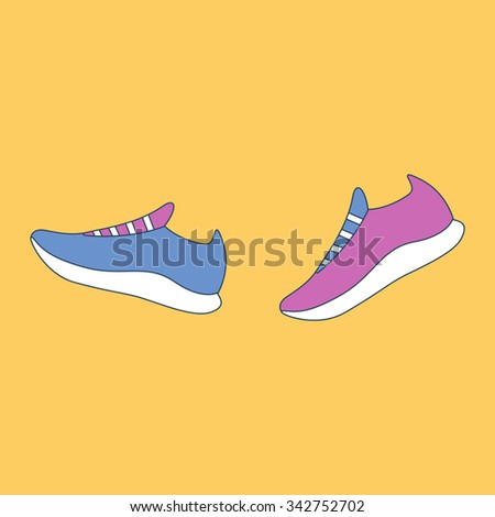 Sport running shoes. Vector illustration