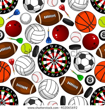 Sport seamless pattern on white background with soccer and american football, basketball and baseball, volleyball and tennis, bowling and billiards balls, hockey pucks, darts arrows and target boards - stock vector