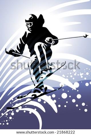 Sport set: Downhill skiing - stock vector