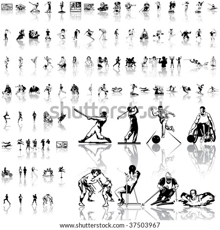 Sport set of black sketch. Part 2. Isolated groups and layers. - stock vector