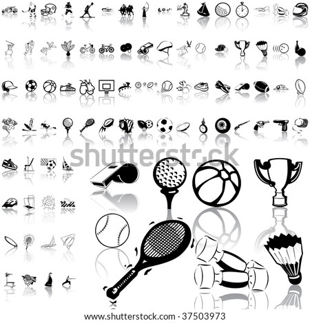 Sport set of black sketch. Part 4. Isolated groups and layers. - stock vector