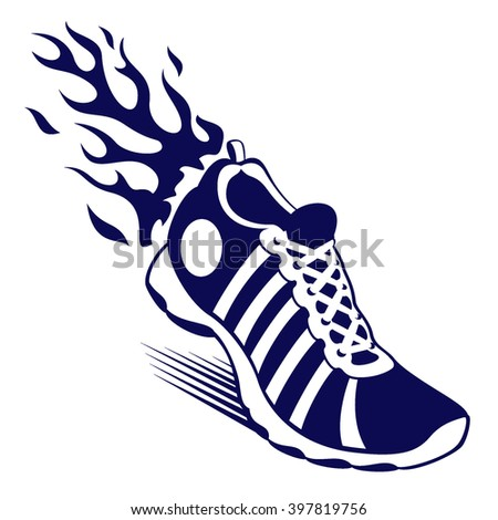 Sport shoe with flame - stock vector